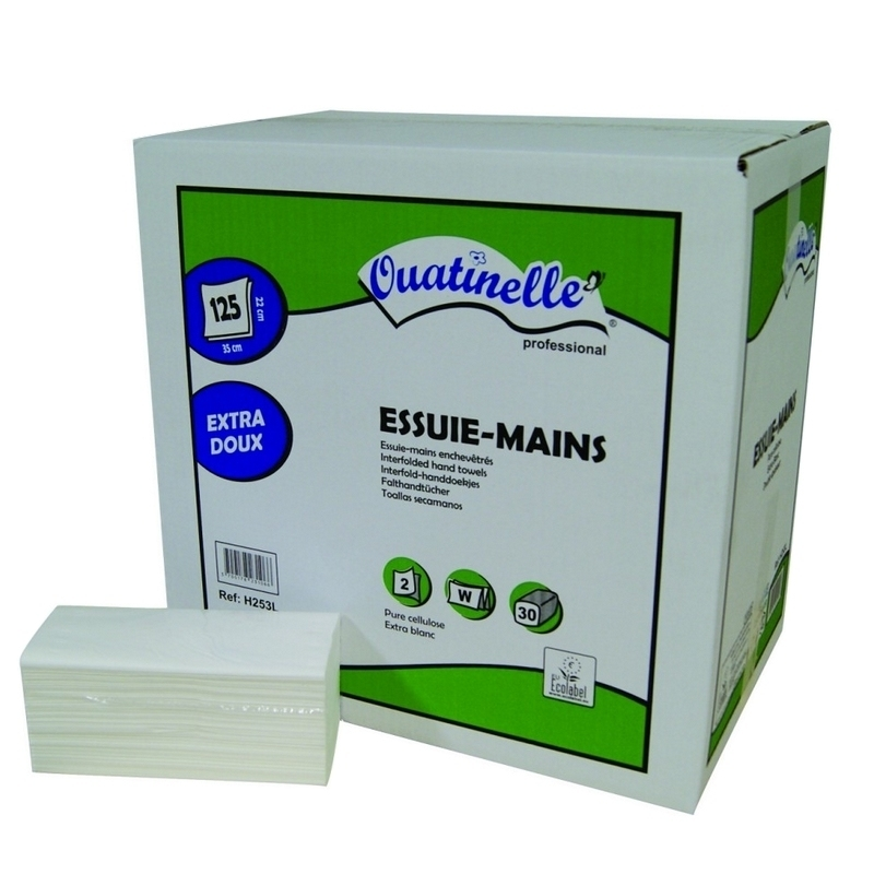 Bobines & Essuie-mains  Essuie mains plié en W - 2 plis lisse - Ouatinelle H253L - Carton de 3750 feuilles