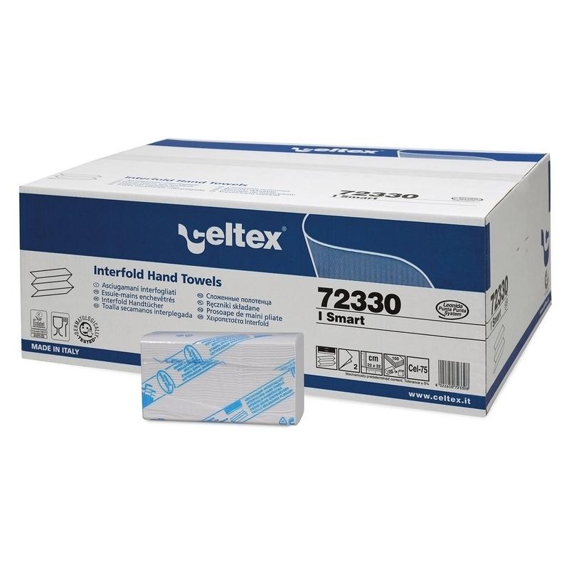 Bobines & Essuie-mains  Essuie mains enchevêtrés Z - 2 plis gaufré blanc - Carton de 3200 feuilles - Celtex 72330