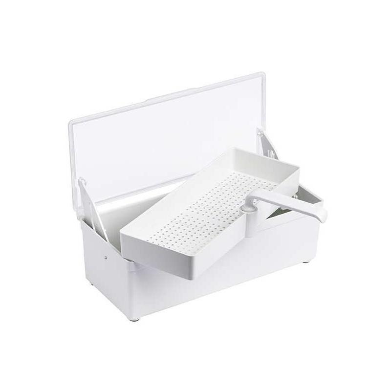 Bacs stérilisation Bac de décontamination 1 L - Avec couvercle et panier perforé - 8 x 11 x 25 cm