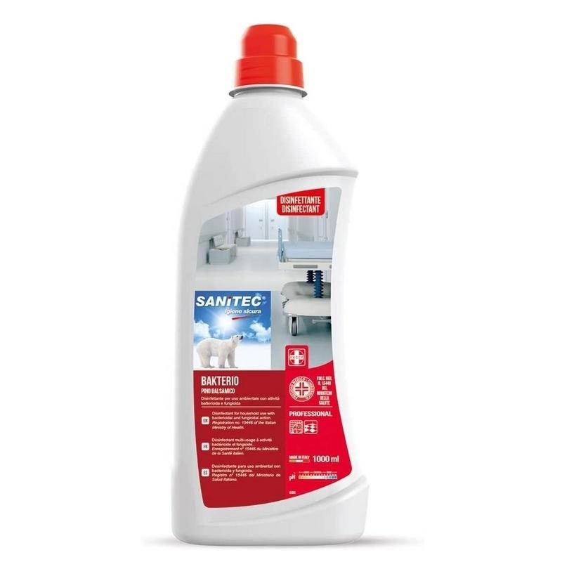 Désinfection du matériel Bakterio Sanitec - Senteur Pin Balsamique - Désinfectant bactéricide - Bidon 1 L