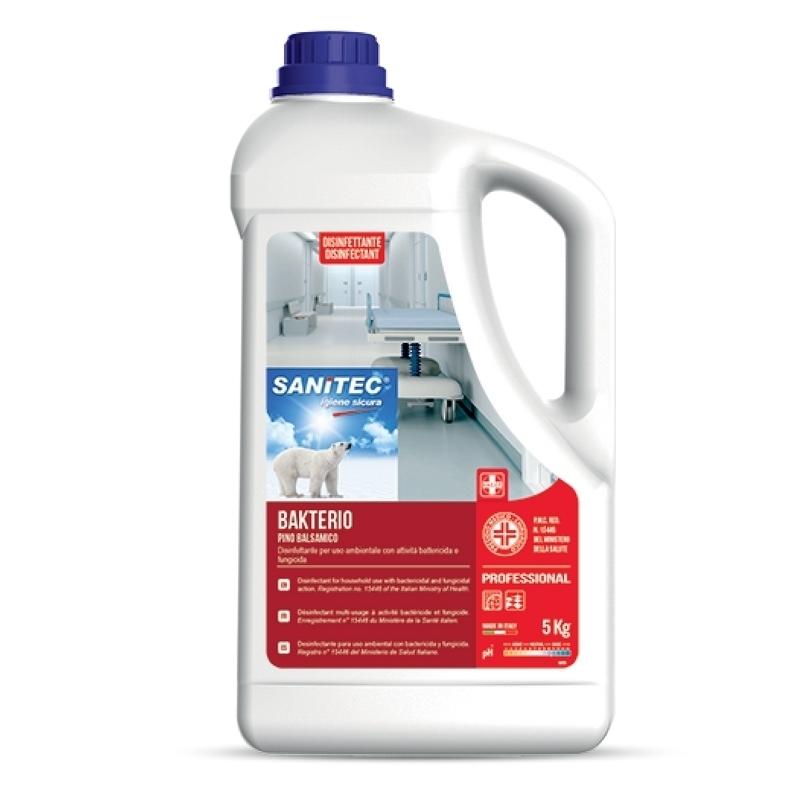 Désinfection du matériel Bakterio Sanitec - Senteur Pin Balsamique - Désinfectant bactéricide - Bidon 5 L