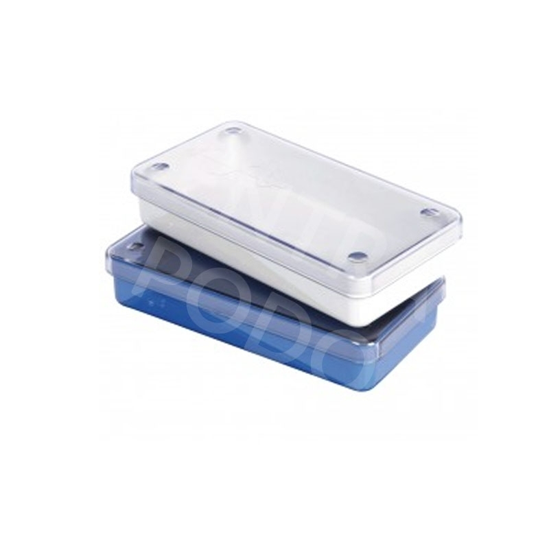 Plateaux et boîtes plastiques Boîte à instruments Polybox - Perforée ou non - Bleu ou Ivoire