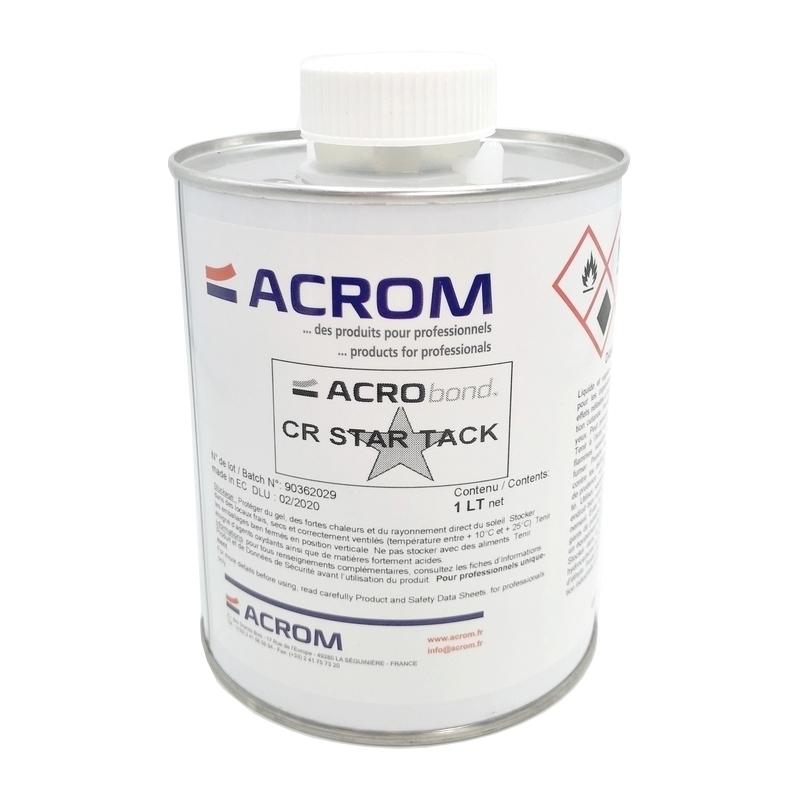 Colles & Adhésifs & Velcro Colle contact Acrom - Acrobond CR Star Tack - Bouchon pinceau - Bidon 1 litre