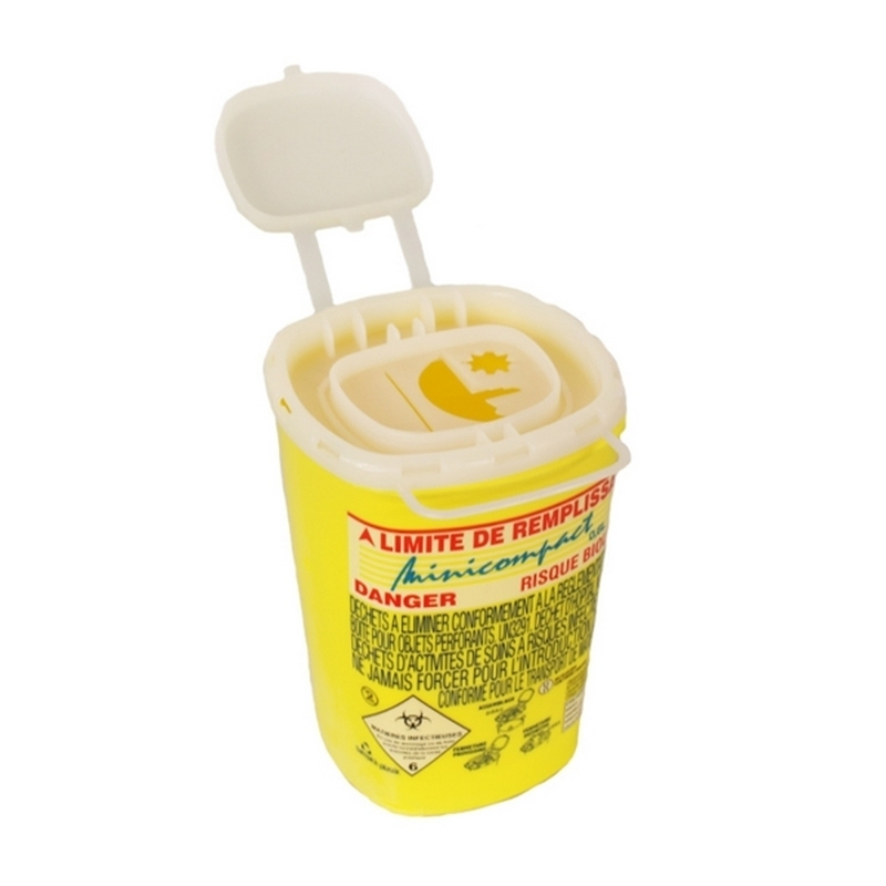 Collecteur de déchets Collecteur d'aiguilles & déchets infectieux - Minicompact - 0,6 litre