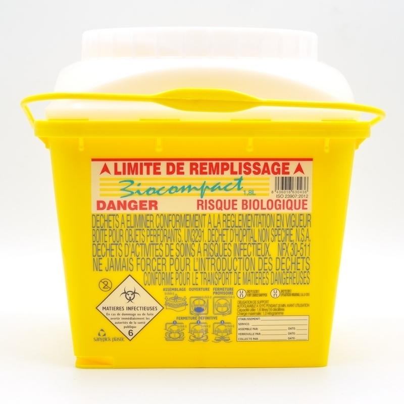 Collecteur de déchets Collecteur d'aiguilles & déchets infectieux - Biocompact - 1,8 litre