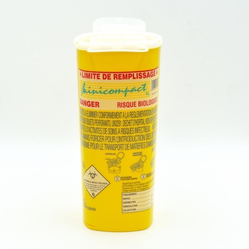 Collecteur de déchets Collecteur d'aiguilles & déchets infectieux - Minicompact - 1 litre