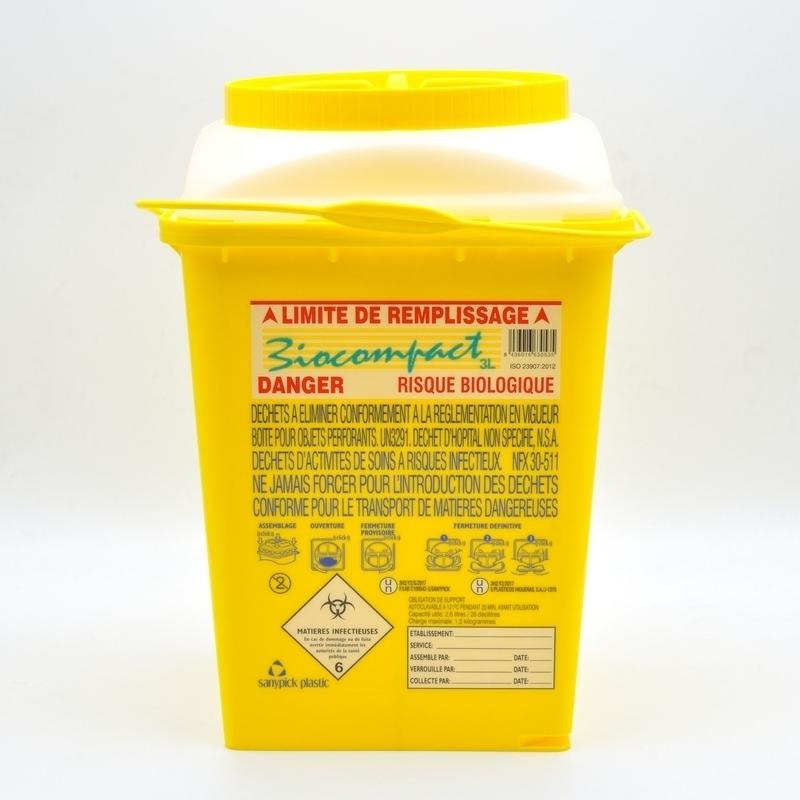 Collecteur de déchets Collecteur d'aiguilles & déchets infectieux - Biocompact - 3 litres