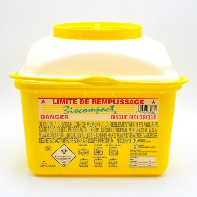 Collecteur de déchets Collecteur d'aiguilles & déchets infectieux - Biocompact - 5 litres