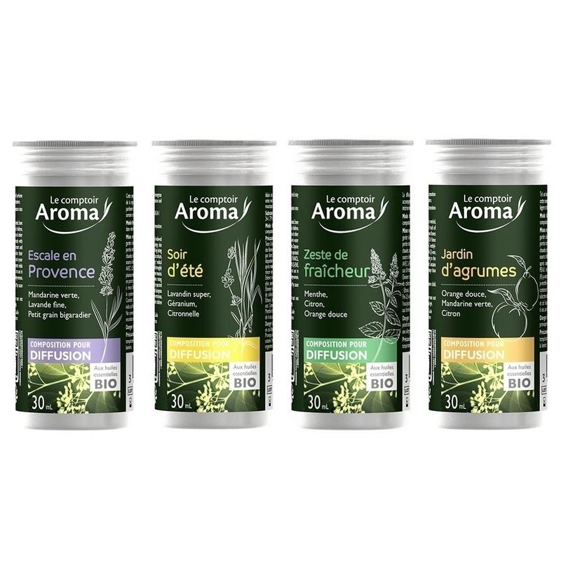 Traitement air et odeur Composition pour diffusion - Huiles essentielles Bio - Le Comptoir Aroma - Flacon alu 30 ml