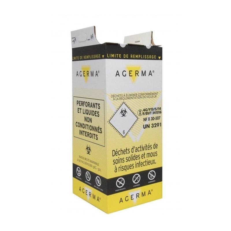 Collecteur de déchets Conteneur en carton - Pour déchets risques infectieux - Lot de 10 cartons - 25 ou 50 litres