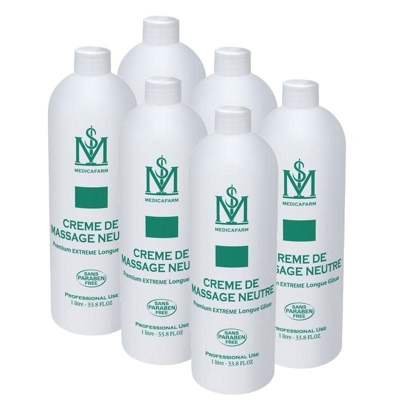 Crème neutre Crème neutre de massage - Extreme longue glisse - Medicafarm -  Carton 6 x 1 litre
