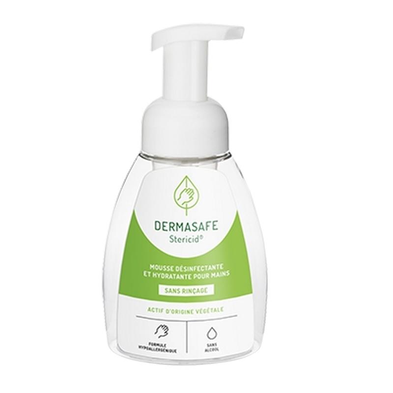 Gels hydroalcooliques / Manugel Dermasafe Stericid - Mousse désinfectante mains - Actifs d'origine végétale - Flacon 250 ml