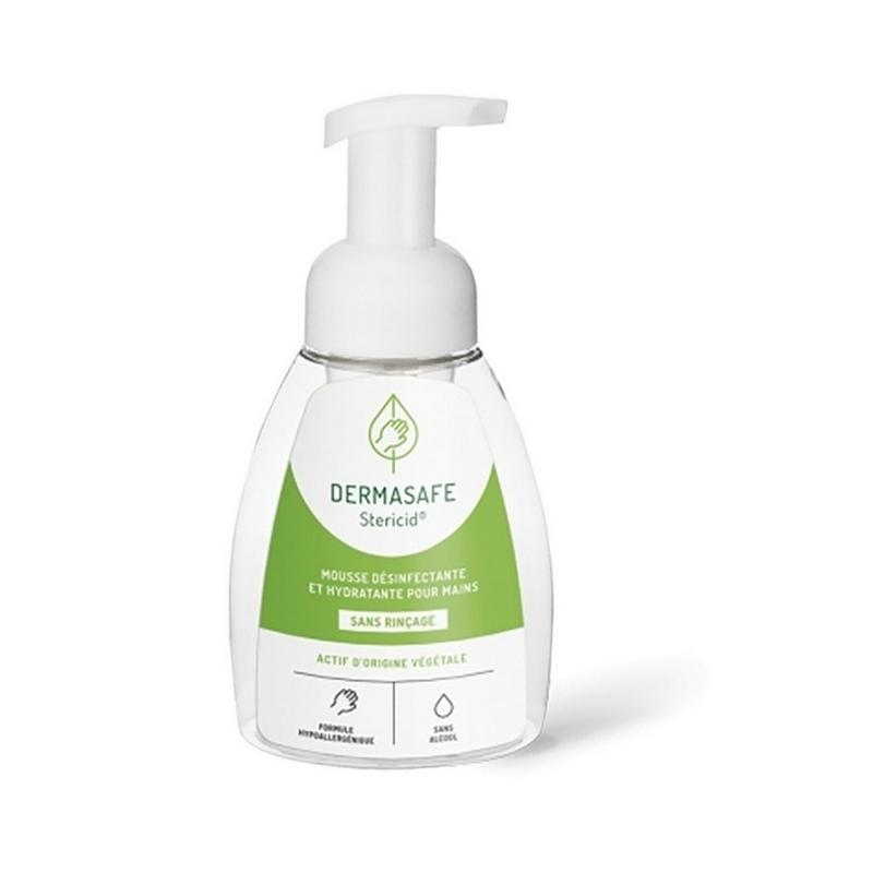 Savon mains Mousse désinfectante mains Dermasafe - Sans alcool - Sans rinçage - Flacon 250 ml