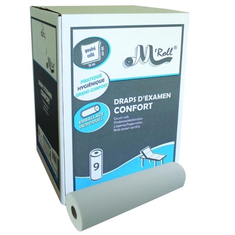 Draps d'examen Draps d'examen Confort gaufré collé - Global Hygiène J222 - 121 formats 35 x 50 cm - Carton de 9 rouleaux