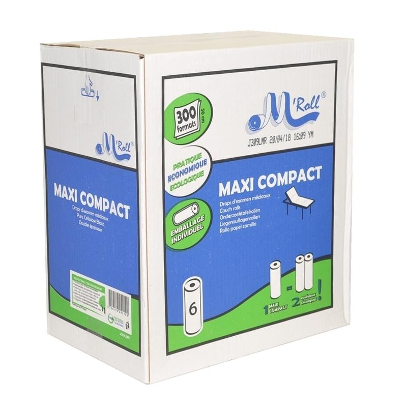 Draps d'examen Draps d'examen Maxi Compact - Global Hygiène J309 - 300 formats 35 x 50 - Carton de 6 rouleaux