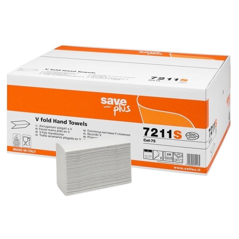 Bobines & Essuie-mains  Essuie mains pliés en V - 2 plis gaufrés - Save Plus 7211S - Carton de 3150 feuilles