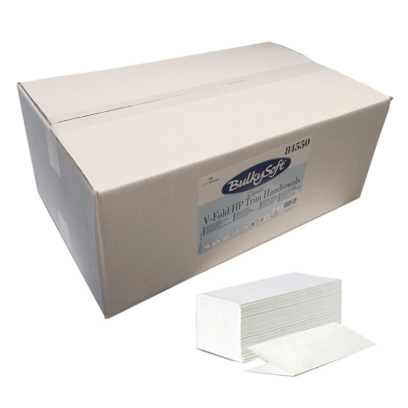 Bobines & Essuie-mains  Essuie mains enchevêtrés en V - 2 plis gaufré blanc - Carton de 3150 feuilles -BulkySoft 84550