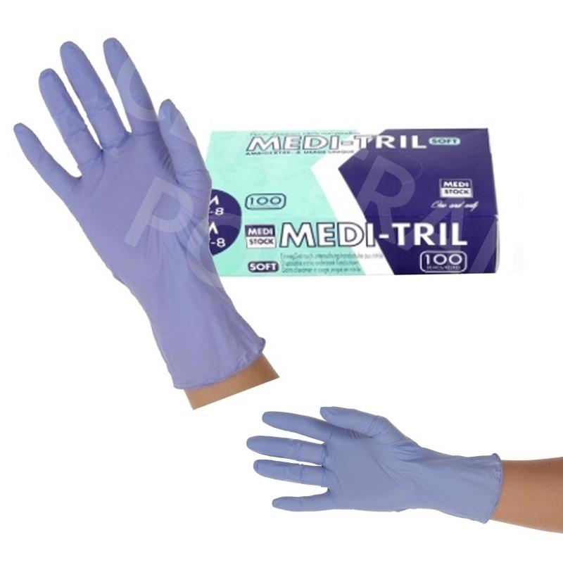 Gant nitrile Gant nitrile violet Medi Tril - Sans poudre - Toutes tailles - Boite de 100