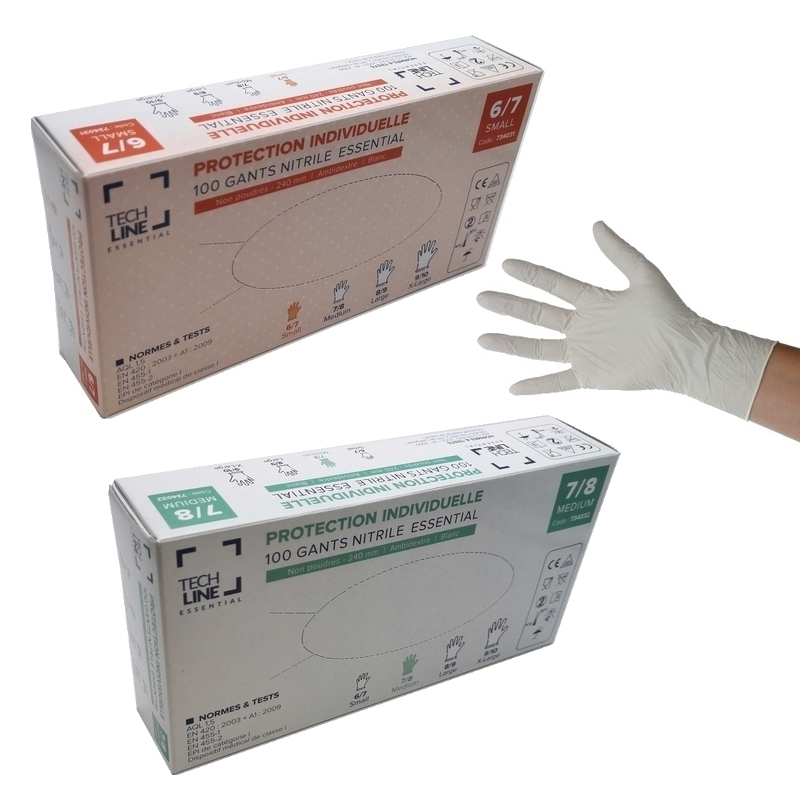 Gant nitrile Gant nitrile blanc Techline - Sans poudre - Boite de 100