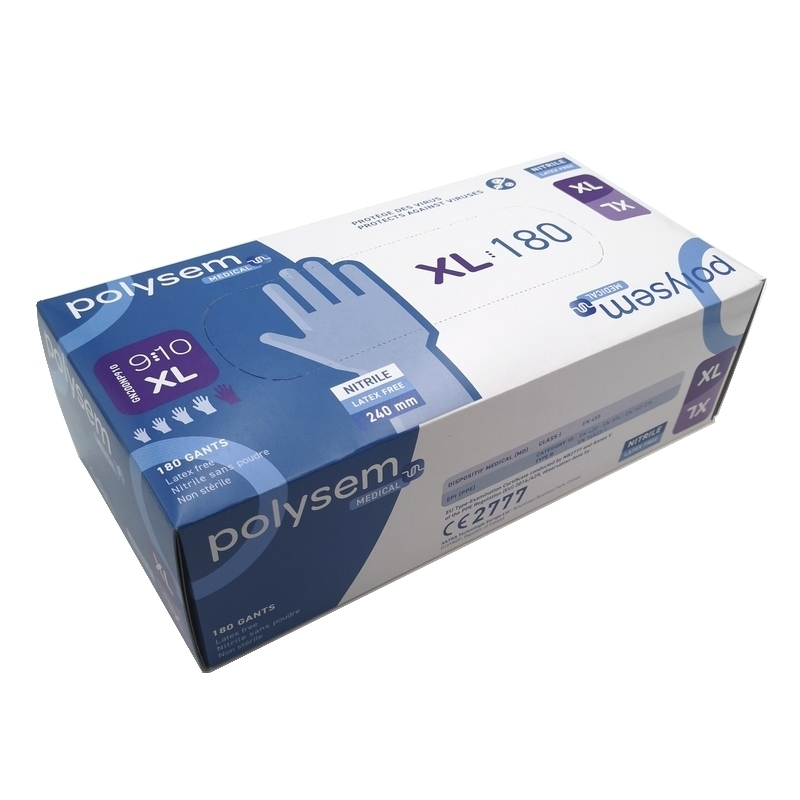 Gant nitrile Gant nitrile bleu Polysem Médical - Sans poudre - Taille XL - Boite de 180