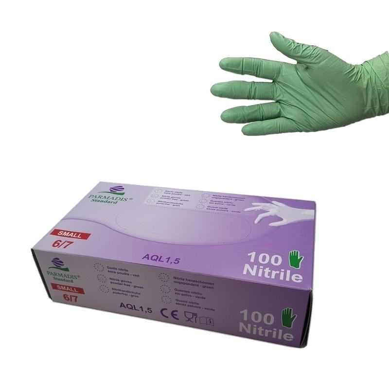 Gant nitrile Gant nitrile vert Parmadis - Sans poudre - Taille S - Boite de 100