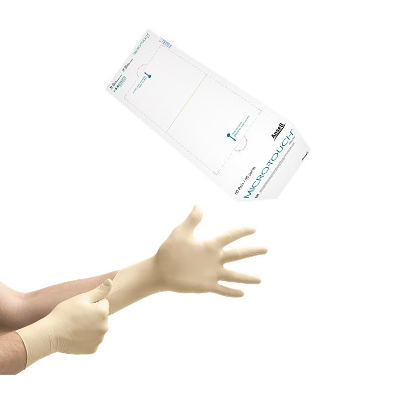 Gant latex stérile Gant stérile latex sans poudre - Micro Touch Ansell - Boite de 50 paires