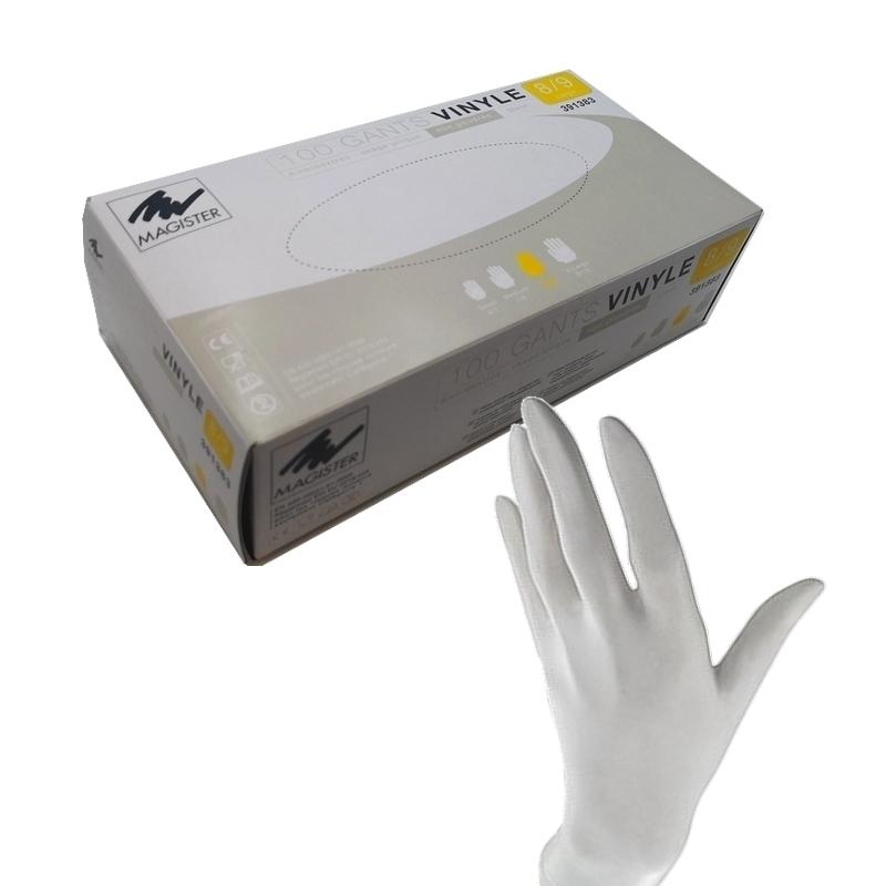 Gant vinyle sans poudre Gant vinyle Magister - Sans poudre - Taille L - Boite de 100