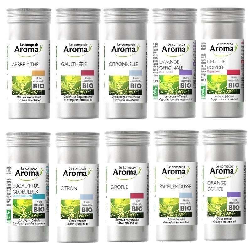 Aromathérapie Huiles essentielles bio - Le Comptoir Aroma - Flacon alu 10 ml