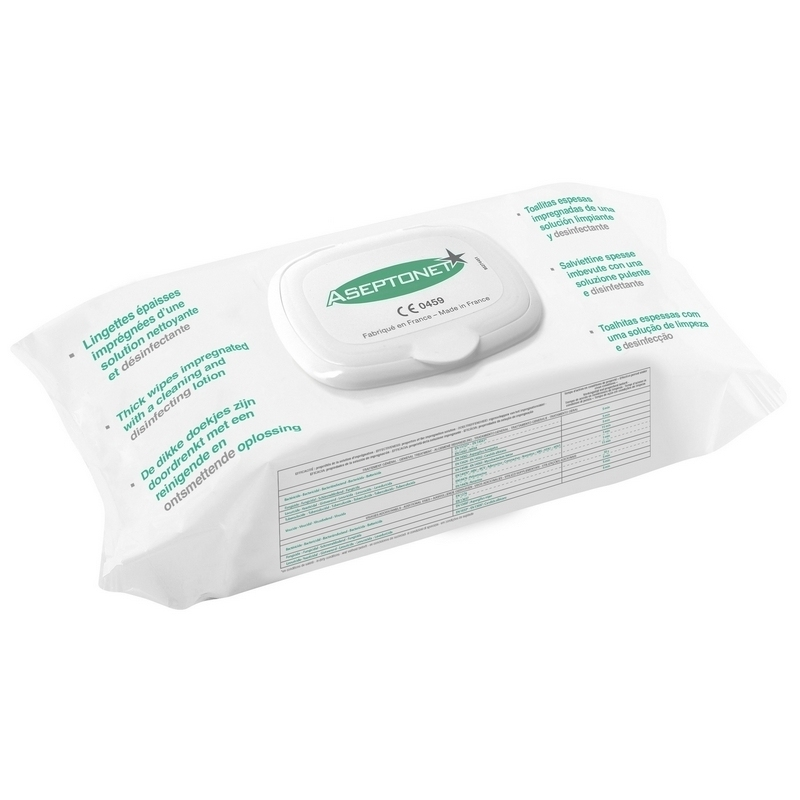 Lingettes  Lingette épaisse Aseptonet - Nettoyante & désinfectante - Paquet souple de 100