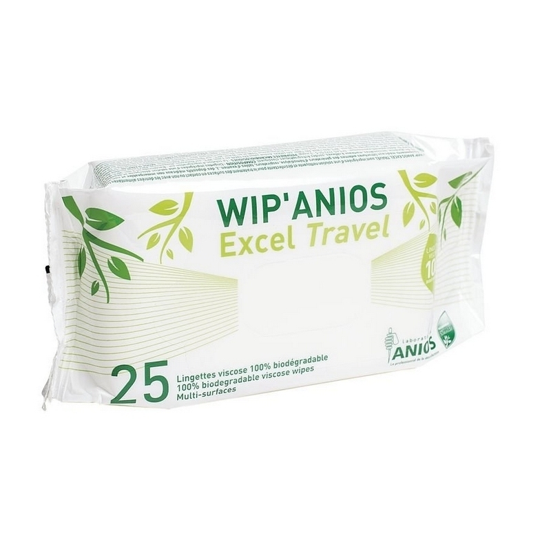 Lingettes désinfectantes Lingettes Wip'Anios Excel Travel - Viscose 100 % biodégradable -Paquet de 25