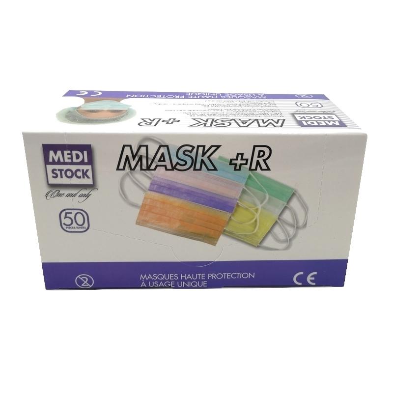 Masque élastique bleu 3 plis - Medistock - Boite de 50