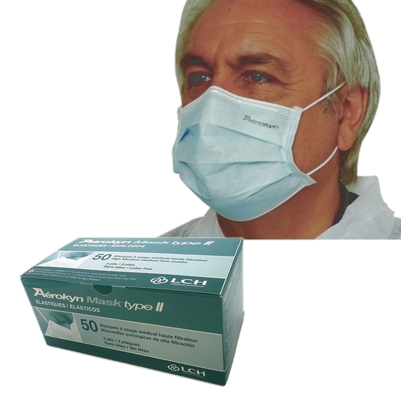 Masque de chirurgie avec élastique - Type II 3 plis Bleu - Aérokyn LCH - Boite de 50