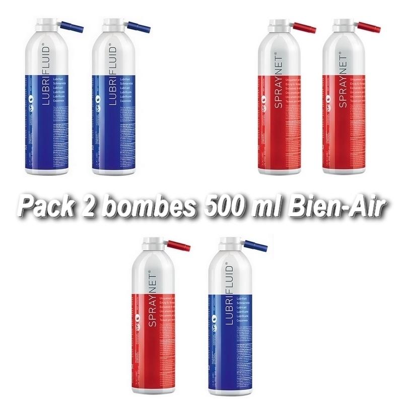 Pack de 2 bombes 500 ml Bien Air - Lubrifluid & Spraynet