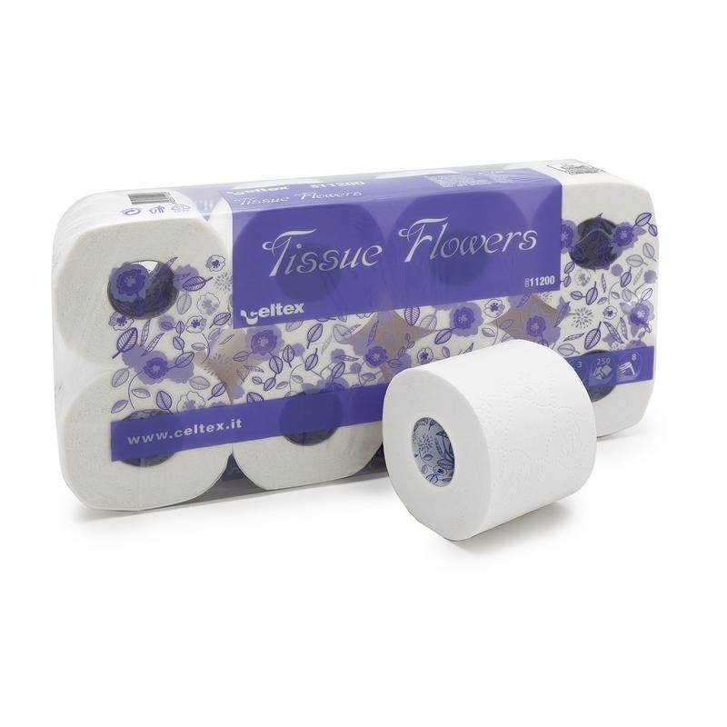 Papier hygiénique Papier toilette Tissue Flowers Celtex - 250 formats 3 plis - Ballot de 8 rouleaux
