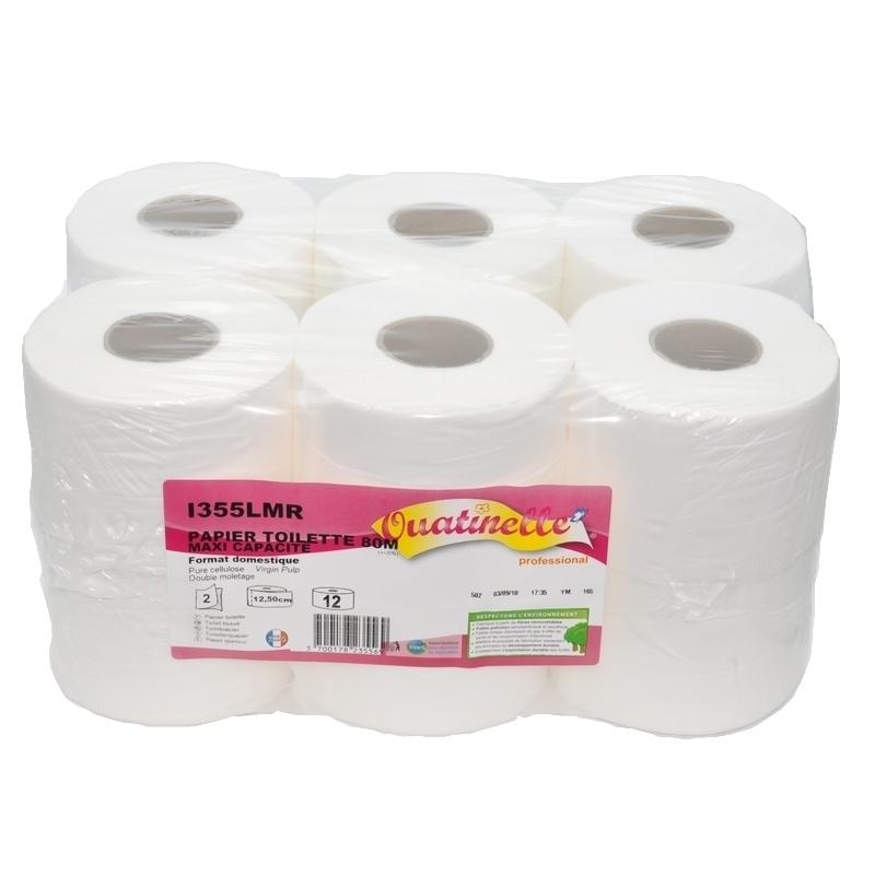 Papier hygiénique Papier toilette Compact Ouatinelle - 640 feuilles 2 plis - Ballot de 12 rouleaux