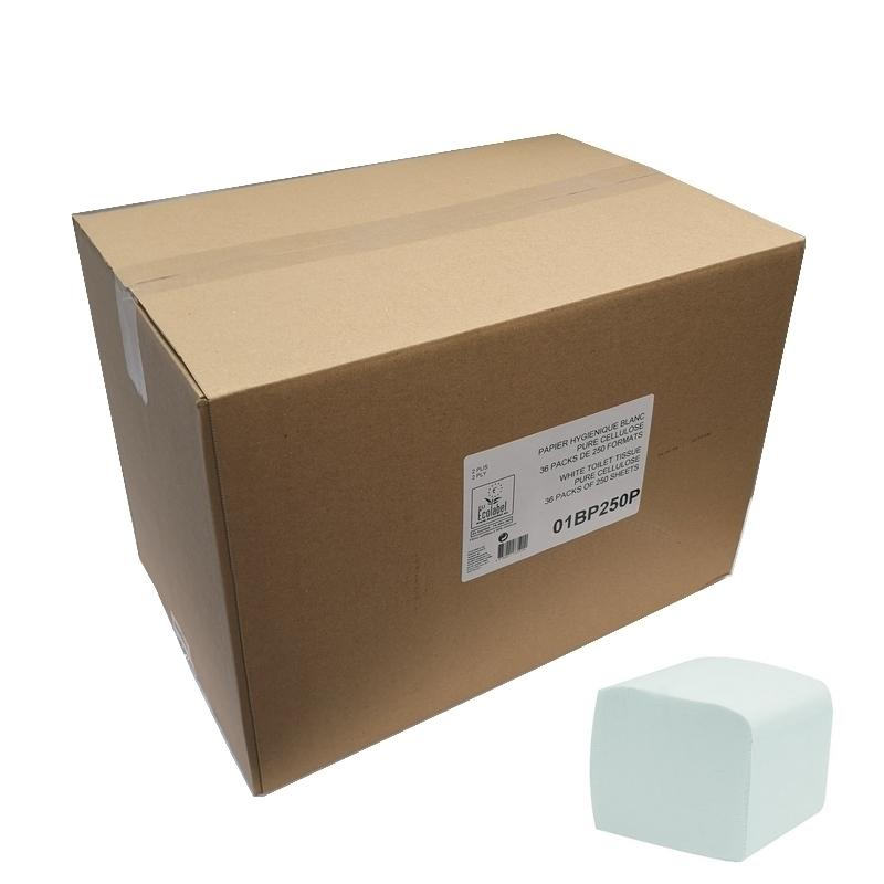 Papier hygiénique Papier toilette plié feuille à feuille - Ecolabel 250 feuilles 2 plis -  Carton de 36 paquets