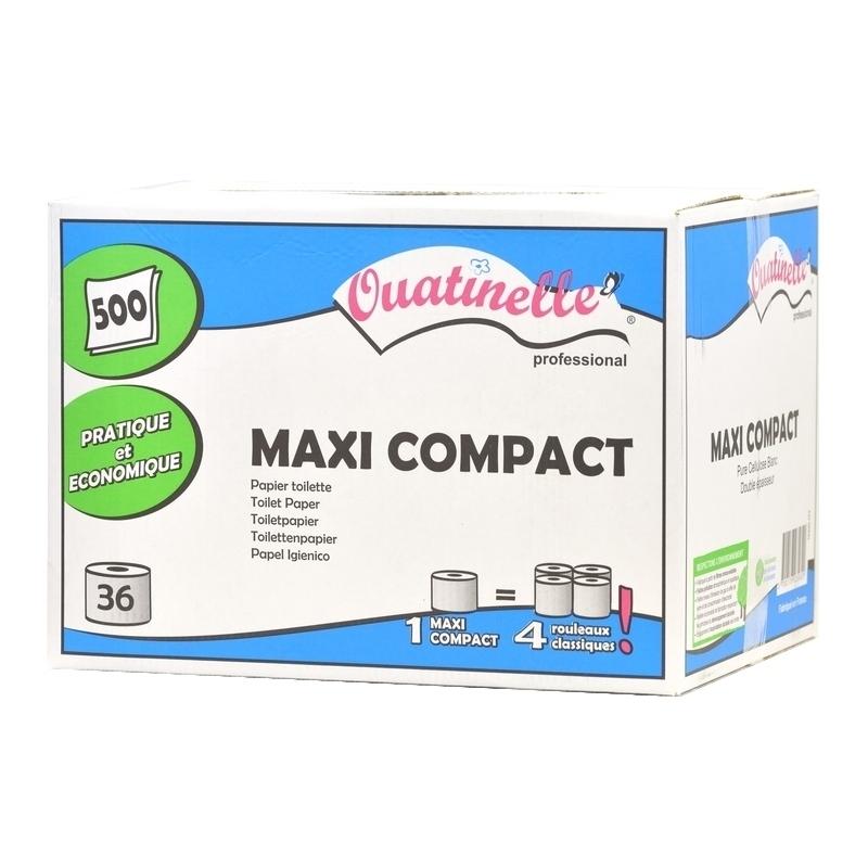 Papier hygiénique Papier toilette Maxi Compact Ouatinelle - 500 feuilles 2 plis - Carton de 36 rouleaux