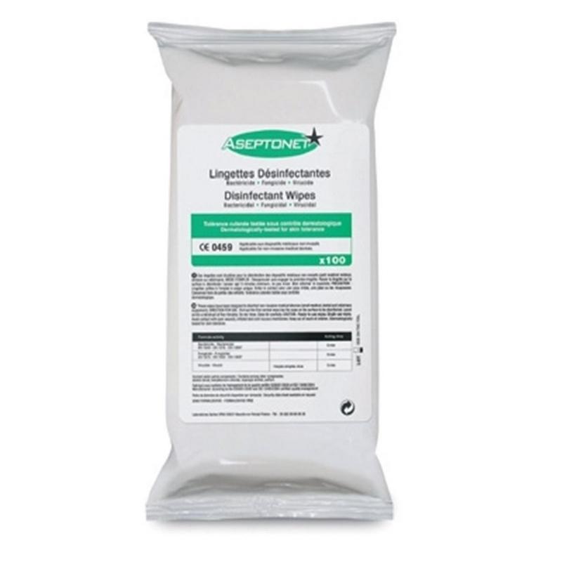 Lingettes  Lingette Aseptonet - Nettoyante & désinfectante - Recharge de 100