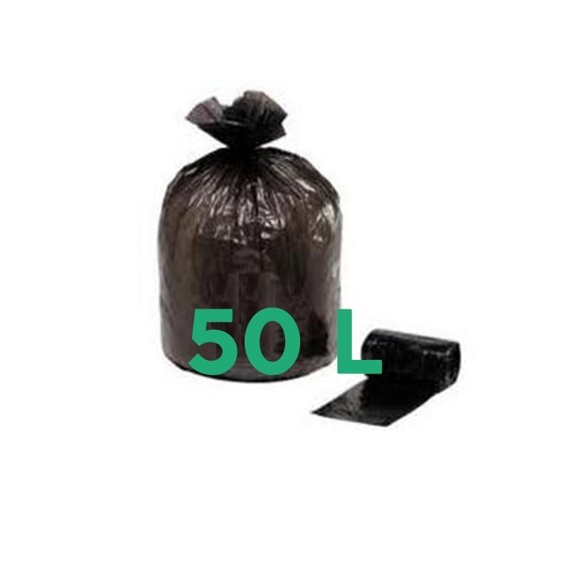 Sacs poubelle Sac poubelle noir 50 litres - Lien coulissant - Carton de 100