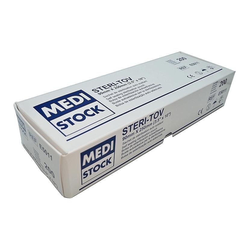 Sachet de stérilisation autocollant - Stéri Tov Medistock - Boite de 200 - 90 x 250 mm