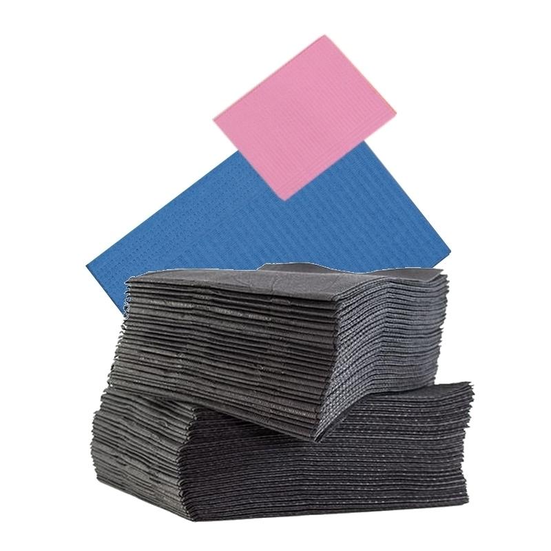 Serviettes Serviettes plastifiées 33 x 48 cm - Bleu / Rose / Noire - Paquet de 125
