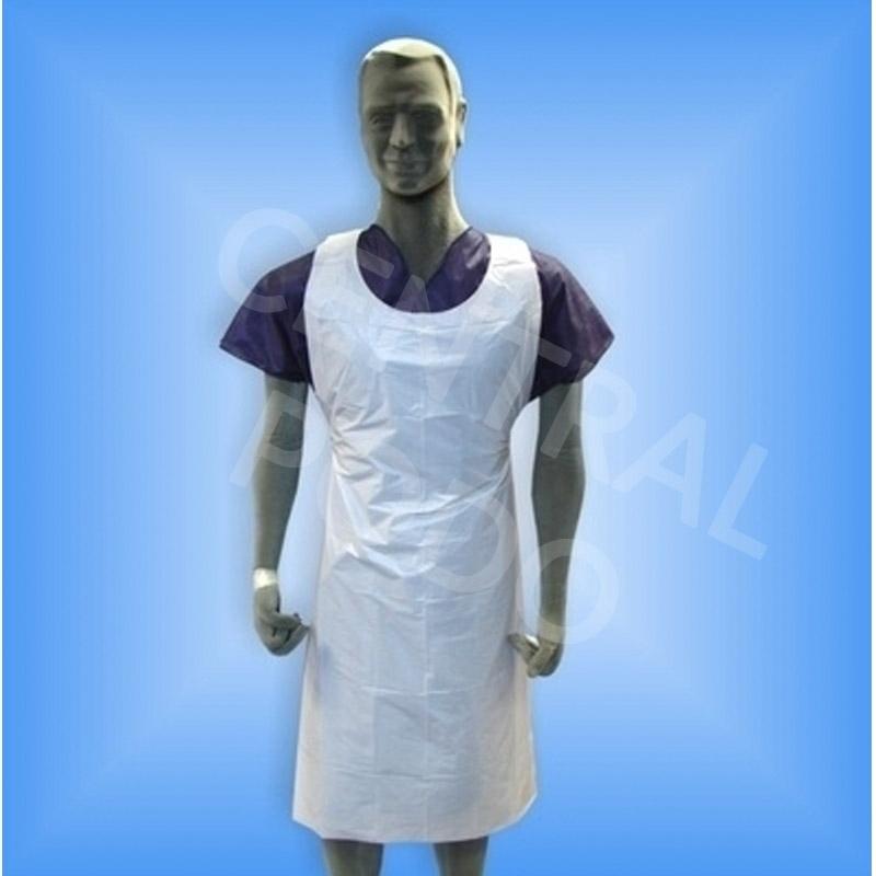 Tablier / Manchette / Surchaussure Tablier plastique blanc - 70 x 120 cm - Paquet x 100