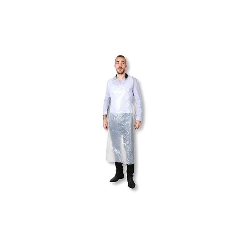 Tabliers & Protections diverses Tablier plastique blanc - 125 cm - Pack de 100