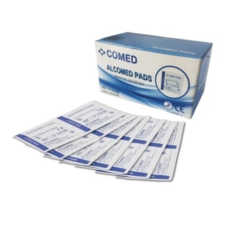 Alcool & Chlorhexidine  Tampons alcoolisés Alcomed - 50 x 50 - Boite de 100