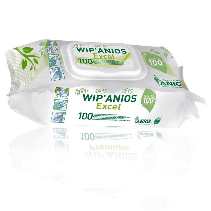 Lingettes désinfectantes Lingettes Wip'Anios Excel - Viscose 100% biodégradable - Paquet de 100